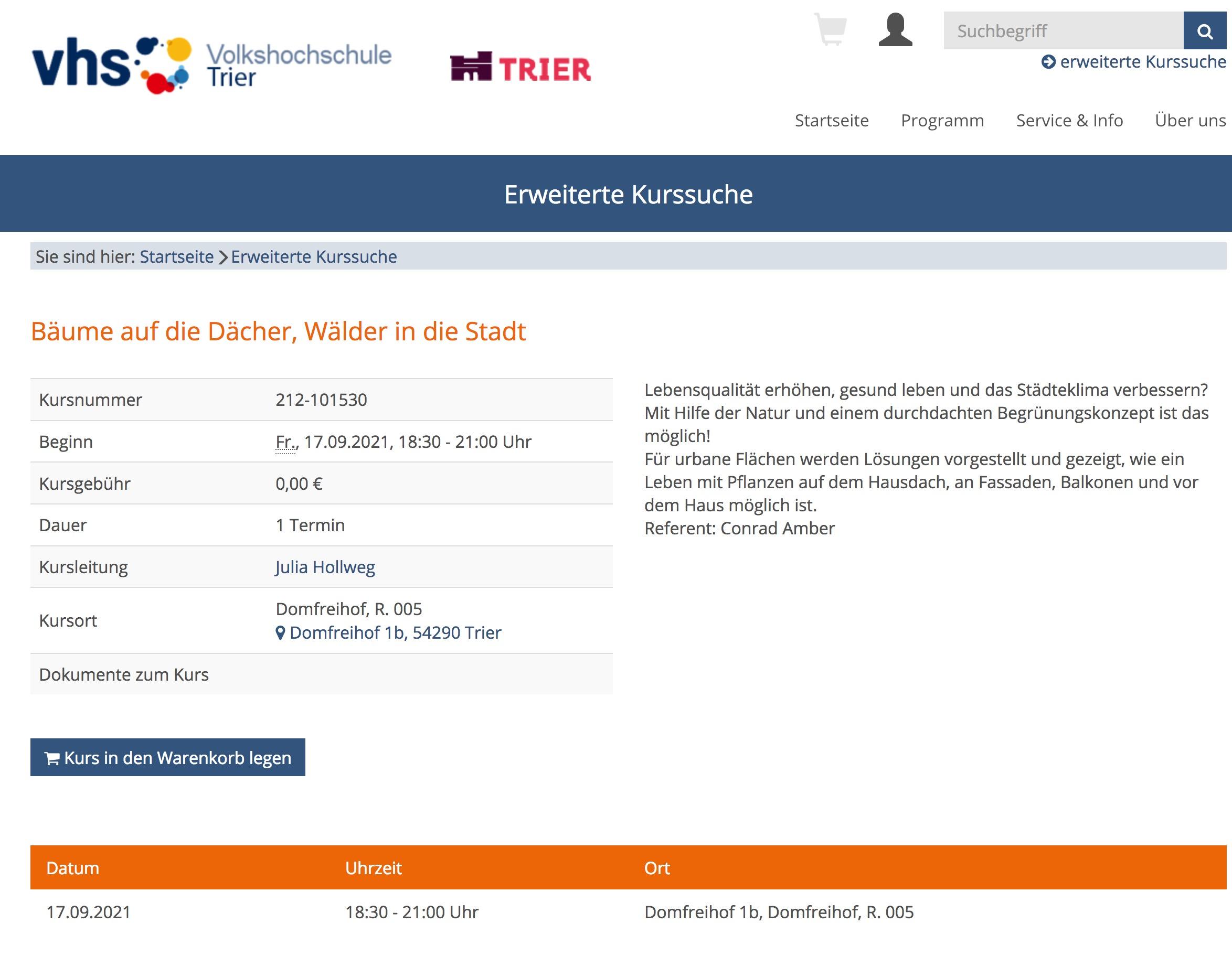 """Trier : Vortrag """"Bäume auf die Dächer, Wälder in die Stadt"""" am 17.09.2021 um 18.30, vhs"""